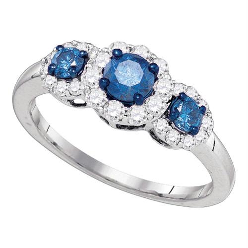 10kt White Gold Womens Round Blue Color Enhanced Diamond 3-stone Bridal Wedding Engagement Ring 1.00 Cttw