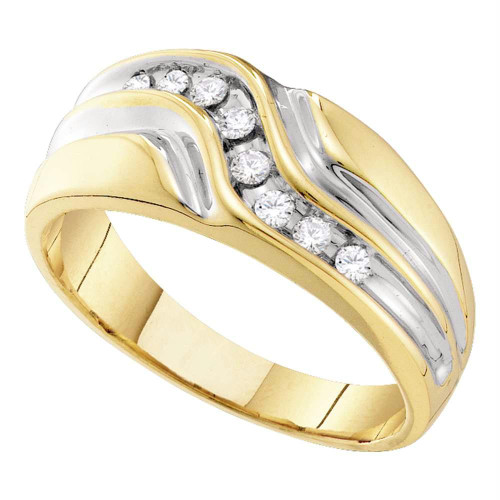 10kt Yellow Gold Mens Round Diamond Wedding Band Ring 1/4 Cttw - 55672-10