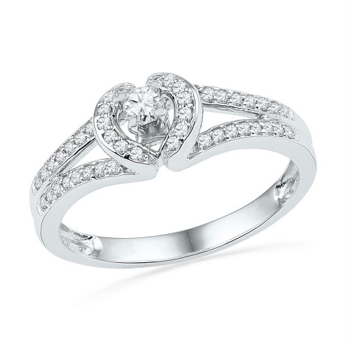 10kt White Gold Womens Round Diamond Heart Love Promise Bridal Ring 1/4 Cttw - 101860-9.5