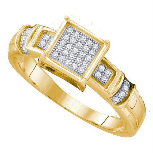 10kt Yellow Gold Womens Round Diamond Cluster Bridal Wedding Engagement Ring 1/8 Cttw - 63620-8