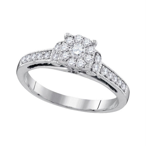 10kt White Gold Womens Round Diamond Cluster Milgrain Bridal Wedding Engagement Ring 3/8 Cttw
