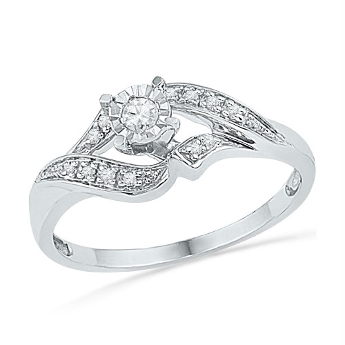 10kt White Gold Womens Round Diamond Solitaire Bridal Wedding Engagement Ring 1/6 Cttw - 100706-9