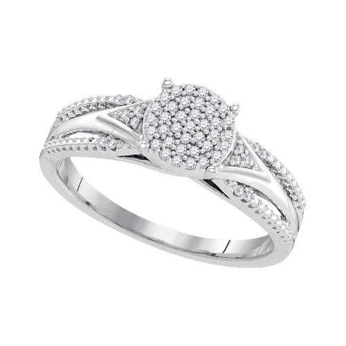 10kt White Gold Womens Round Diamond Cluster Bridal Wedding Engagement Ring 1/6 Cttw - 99422