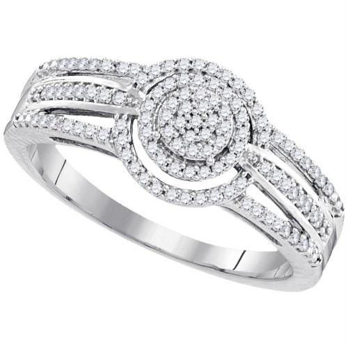 10kt White Gold Womens Round Diamond Cluster Bridal Wedding Engagement Ring 1/4 Cttw - 99414