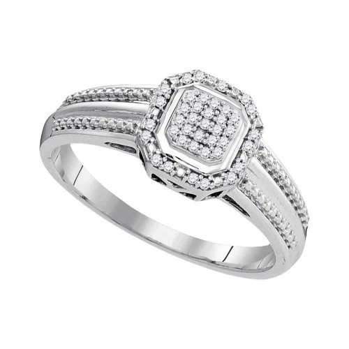 10kt White Gold Womens Round Diamond Square Cluster Bridal Wedding Engagement Ring 1/10 Cttw - 99416