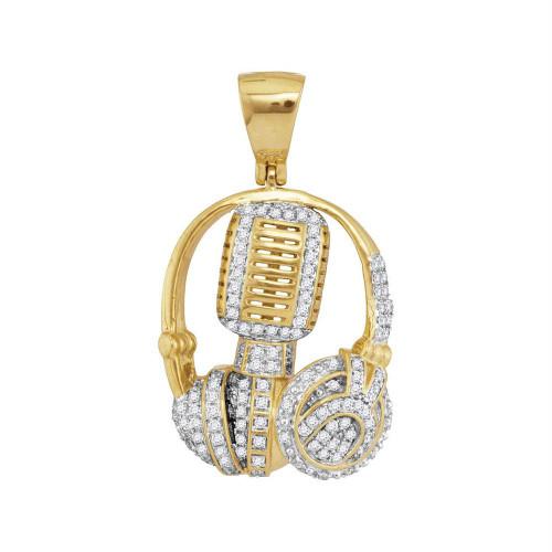10kt Yellow Gold Mens Diamond Mic Headphone DJ Music Charm Pendant 1.00 Cttw
