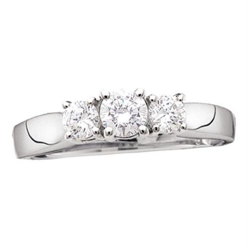 14kt White Gold Womens Round Diamond 3-stone Bridal Wedding Engagement Ring 1/2 Cttw - 11499-6.5