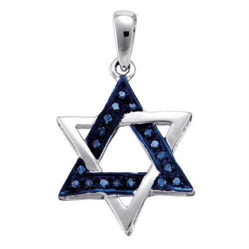 10k White Gold Blue Color Enhanced Diamond Womens Star Magen David Religious Heritage Pendant 1/10 Cttw