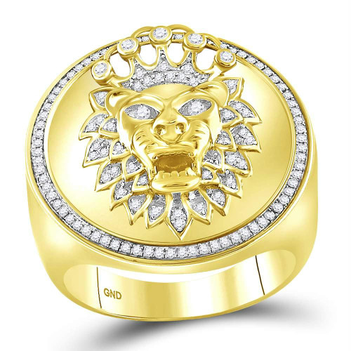 10kt Yellow Gold Mens Round Diamond Lion Crown Cluster Ring 3/8 Cttw