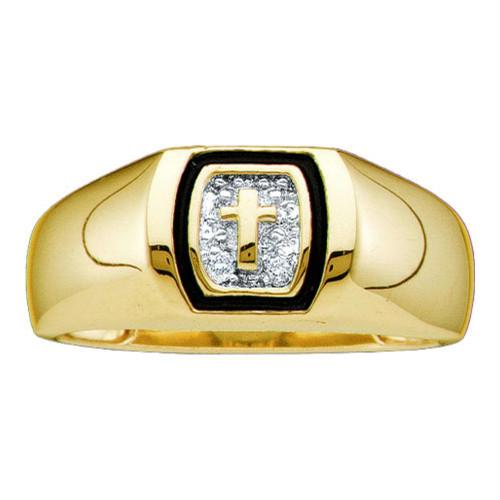 10kt Yellow Gold Mens Round Diamond Christian Cross Band Ring .01 Cttw
