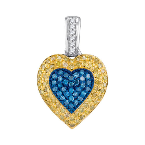 10kt White Gold Womens Round Blue & Yellow Color Enhanced Diamond Heart Cluster Pendant 1/4 Cttw