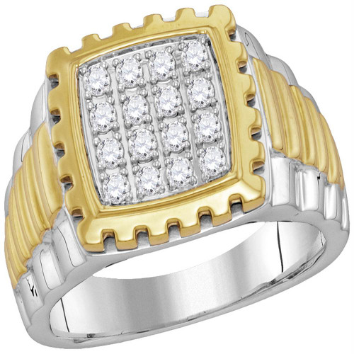 10kt Two-tone Gold Mens Round Diamond Notched Frame Square Cluster Ring 1/2 Cttw