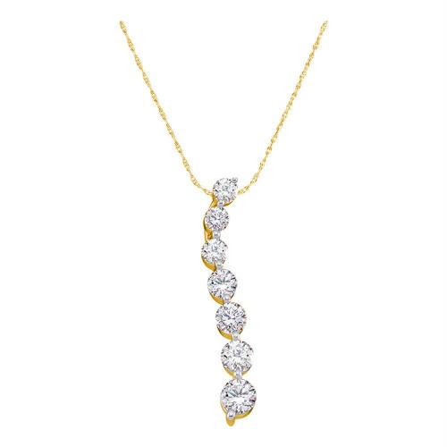 14kt Yellow Gold Womens Round Diamond Journey Pendant 1/2 Cttw
