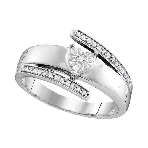 14kt White Gold Womens Round Diamond Solitaire Promise Bridal Ring 1/10 Cttw - 110703-8