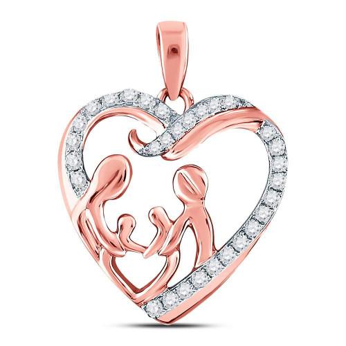 10kt Rose Gold Womens Round Diamond Mother Children Family Heart Pendant 1/4 Cttw