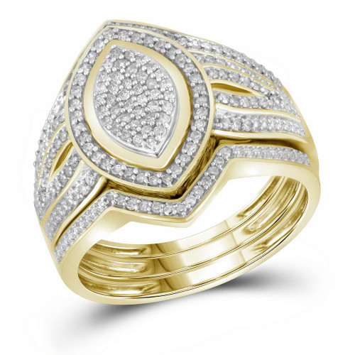 10kt Yellow Gold Womens Diamond Cluster 3-Piece Bridal Wedding Engagement Ring Band Set 1/3 Cttw