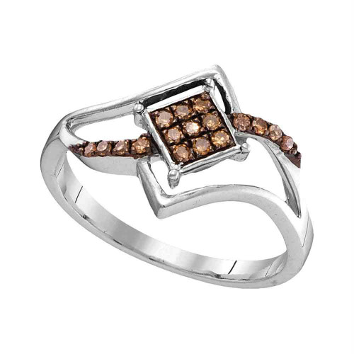 10kt White Gold Womens Round Cognac-brown Color Enhanced Diamond Square Cluster Ring 1/6 Cttw