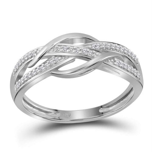10k Rose Gold Diamond Woven Strand Band Ring 1//10 ct