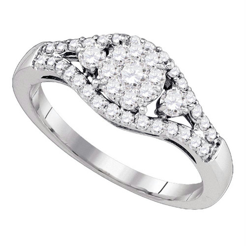 10kt White Gold Womens Round Diamond Flower Cluster Ring 5/8 Cttw - 77483-9