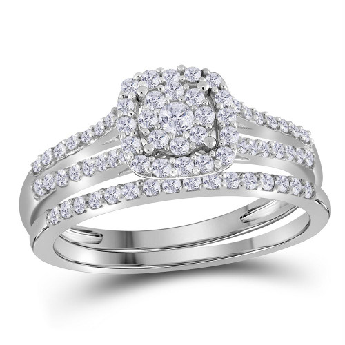 10kt White Gold Womens Round Diamond Bridal Wedding Engagement Ring Band Set 1/2 Cttw - 112361-6