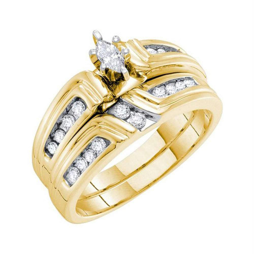 14kt Yellow Gold Womens Marquise Diamond Bridal Wedding Engagement Ring Band Set 3/8 Cttw