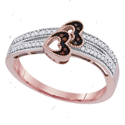 10kt Rose Gold Womens Round Red Color Enhanced Diamond Heart Love Ring 1/6 Cttw - 91606-5.5