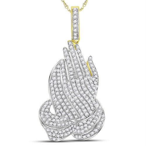 10kt Yellow Gold Mens Round Diamond Praying Hands Charm Pendant 1-1/2 Cttw