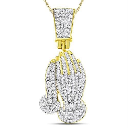10kt Yellow Gold Mens Round Diamond Praying Hands Faith Charm Pendant 1/2 Cttw