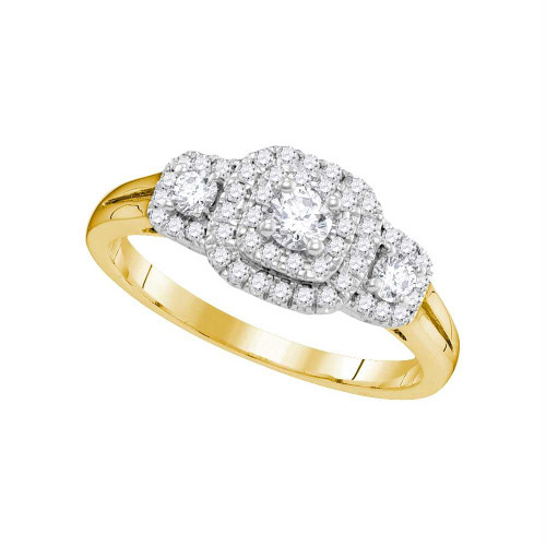 14kt Yellow Gold Womens Round Diamond Solitaire Double Halo Bridal Wedding Engagement Ring 1/2 Cttw