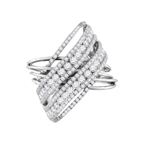 14kt White Gold Womens Round Diamond Crossover Open Strand Cocktail Ring 2-1/2 Cttw