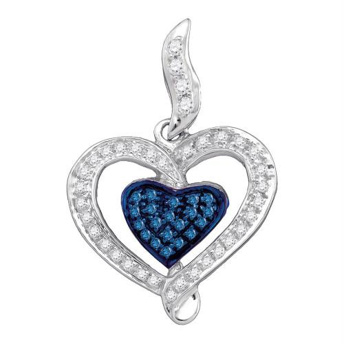 10kt White Gold Womens Round Blue Color Enhanced Diamond Heart Pendant 1/4 Cttw - 75080