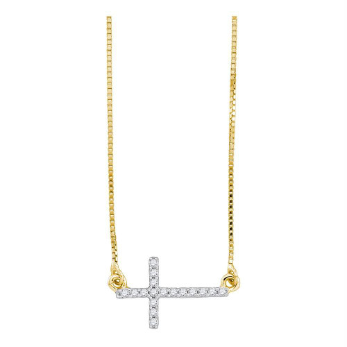 10kt Yellow Gold Womens Round Diamond Cross Pendant Necklace Chain 1/10 Cttw
