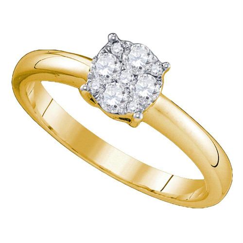 18kt Yellow Gold Womens Round Diamond Cluster Bridal Wedding Engagement Ring 1.00 Cttw