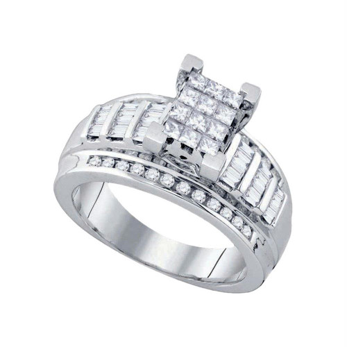 10kt White Gold Womens Princess Diamond Cindy's Dream Cluster Bridal Wedding Engagement Ring 7/8 Cttw - Size 7.5