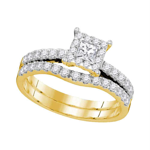 14K Yellow Gold Princess Diamond Womens Bridal Wedding Engagement Ring Band Set 7/8 Cttw