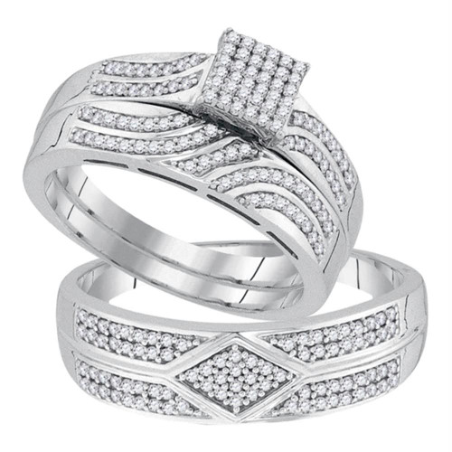 10kt White Gold His & Hers Round Diamond Square Cluster Matching Bridal Wedding Ring Band Set 1/3 Cttw