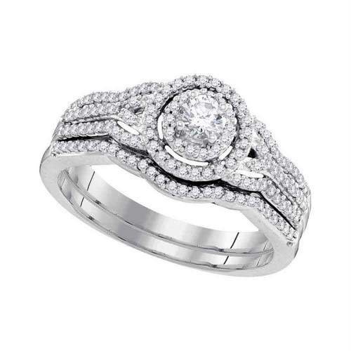 10k White Gold Round Diamond Bridal Wedding Engagement Ring Band Set 1/2 Cttw - 98605-10.5