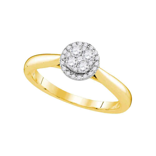 14kt Yellow Gold Womens Round Diamond Cluster Bridal Wedding Engagement Ring 1/4 Cttw - 107416-9