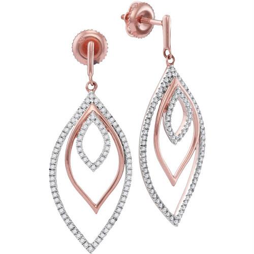 10kt Rose Gold Womens Round Diamond Triple Nested Oval Dangle Earrings 1/2 Cttw