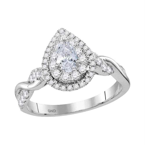 14kt White Gold Womens Pear Diamond Solitaire Twist Bridal Wedding Engagement Ring 1.00 Cttw