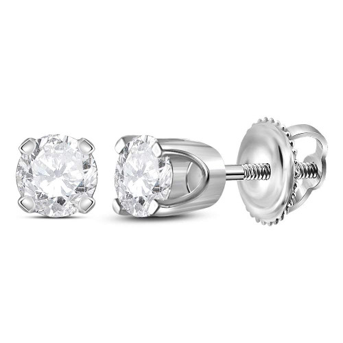14kt White Gold Unisex Round Diamond Solitaire Stud Earrings 3/8 Cttw - 41553