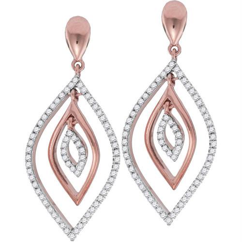 10kt Rose Gold Womens Round Diamond Nested Oval Dangle Earrings 3/8 Cttw