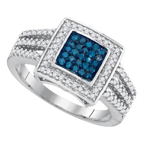 10kt White Gold Womens Round Blue Color Enhanced Diamond Square Cluster Open Shank Ring 1/2 Cttw