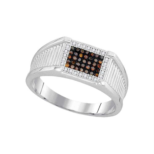 10kt White Gold Mens Round Black Color Enhanced Diamond Rectangle Frame Cluster Ring 1/5 Cttw