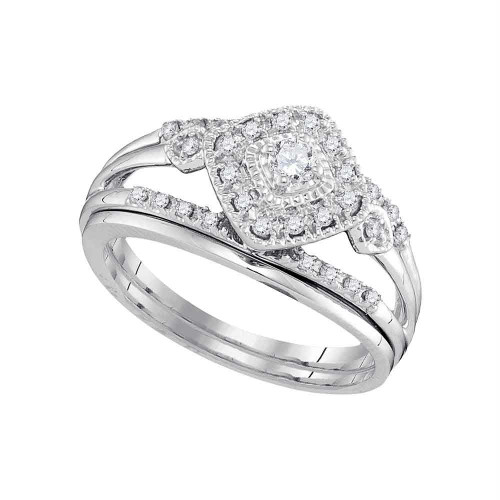 10kt White Gold Womens Round Diamond Bridal Wedding Engagement Ring Band Set 1/3 Cttw - 98343-5