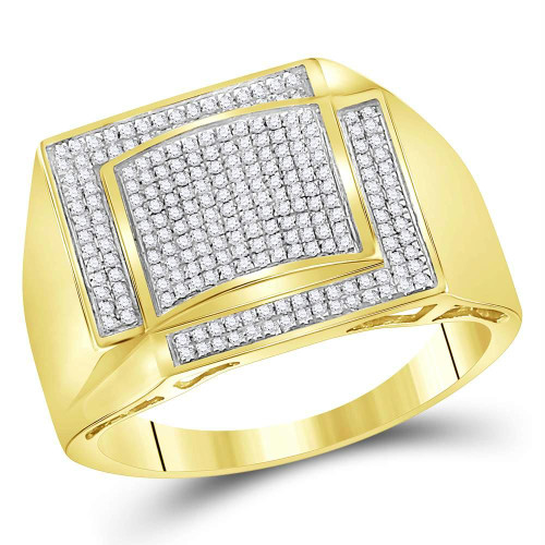 10kt Yellow Gold Mens Round Diamond Square Cluster Ring 1/2 Cttw - 69046-9.5
