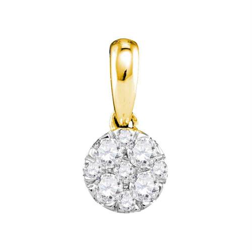 14kt Yellow Gold Womens Round Diamond Circle Cluster Pendant 1/4 Cttw