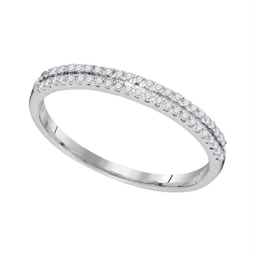 10kt White Gold Womens Round Diamond Slender Double Row Band 1/6 Cttw