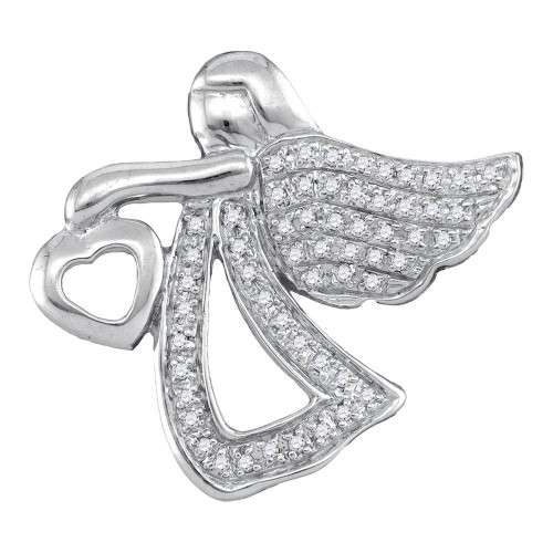 Sterling Silver Womens Round Diamond Angel Heart Religious Pendant 1/8 Cttw
