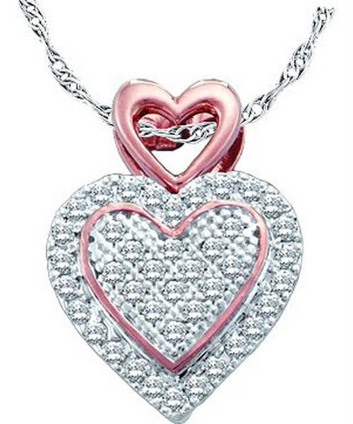 10kt White Gold Womens Round Diamond Rose-tone Heart Cluster Pendant 1/6 Cttw